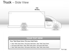 Compact Blue Truck Side View PowerPoint Slides And Ppt Diagram Templates