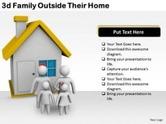 Company Business Strategy 3d Family Outside Their Home Concept