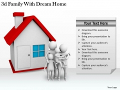Company Business Strategy 3d Family With Dream Home Concept