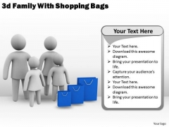 Company Business Strategy 3d Family With Shopping Bags Concept