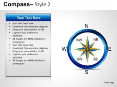 Company Direction Compass 2 PowerPoint Slides And Ppt Diagram Templates