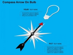 Compass Arrow On Bulb PowerPoint Templates