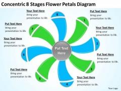 Concentric 8 Stages Flower Petals Diagram Ppt Business Plan PowerPoint Templates