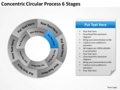 Concentric Circular Process 6 Stages Business Action Plan PowerPoint Slides