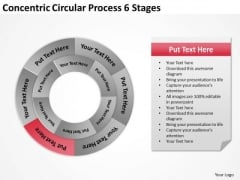 Concentric Circular Process 6 Stages Business Action Plan PowerPoint Templates