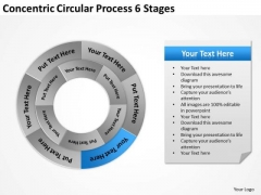 Concentric Circular Process 6 Stages Business Plan PowerPoint Templates