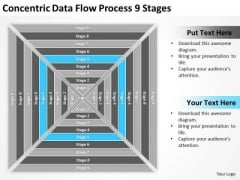 Concentric Data Flow Process 9 Stages Business Plan PowerPoint Slide