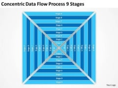 Concentric Data Flow Process 9 Stages Business Plan PowerPoint Slides