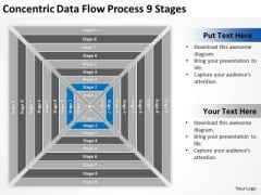 Concentric Data Flow Process 9 Stages Business Plan PowerPoint Templates