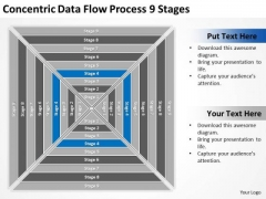 Concentric Data Flow Process 9 Stages Business Plans PowerPoint Slides