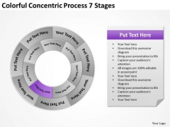 Concentric Process 7 Stages Write Business Plan Template PowerPoint Templates