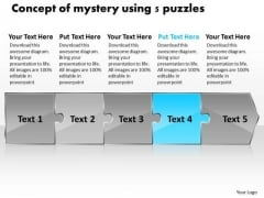 Concept Of Mystery Using 5 Puzzles Ppt Technical Support Flow Chart PowerPoint Templates