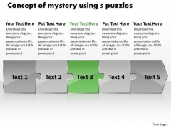 Concept Of Mystery Using 5 Puzzles Program Flowchart PowerPoint Templates