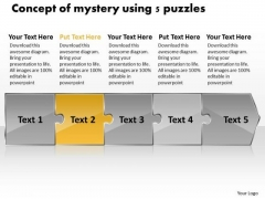 Concept Of Mystery Using 5 Puzzles Quote Process Flow Chart PowerPoint Slides