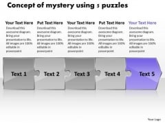 Concept Of Mystery Using 5 Puzzles Tech Support Flow Chart PowerPoint Slides