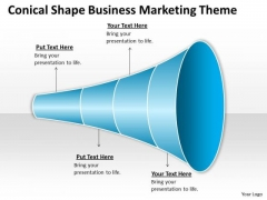 Conical Shape Business Marketing Theme Ppt Plan Companies PowerPoint Slides