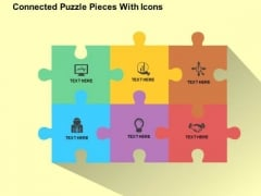Connected Puzzle Pieces With Icons PowerPoint Templates