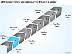 Connecting Arrow Diagram 9 Stages Creating Business Plan Step By PowerPoint Slides