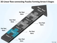 Connecting Puzzles Forming Arrow 6 Stages Simple Business Plan Templates PowerPoint Slides