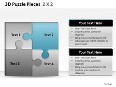 Connection 3d Puzzle Pieces 2x2 PowerPoint Slides And Ppt Diagram Templates