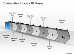 Consecutive Process 10 Stages Business Plan Flow Chart PowerPoint Templates
