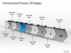 Consecutive Process 10 Stages Free Schematic PowerPoint Templates