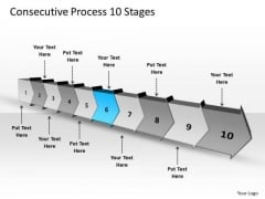 Consecutive Process 10 Stages Planning Flow Chart PowerPoint Templates
