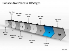 Consecutive Process 10 Stages Ppt Support Flow Chart PowerPoint Slides