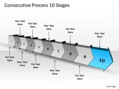Consecutive Process 10 Stages Schematic PowerPoint Templates