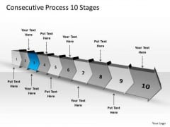 Consecutive Process 10 Stages Technical Drawing PowerPoint Slides