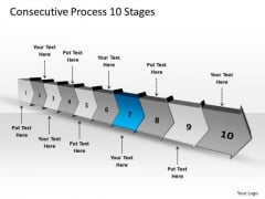Consecutive Process 10 Stages Visio Flow Chart PowerPoint Slides