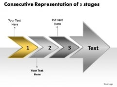 Consecutive Representation Of 3 Stages Creating Flow Chart PowerPoint Templates