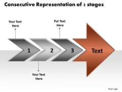 Consecutive Representation Of 3 Stages Flow Diagram Slides PowerPoint