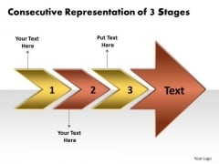 Consecutive Representation Of 3 Stages Process Flow Charts PowerPoint Slides