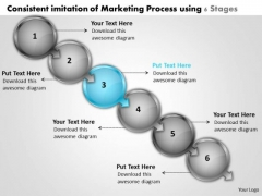 Consistent Imitation Of Marketing Process Using 6 Stages Microsoft Flowchart PowerPoint Templates