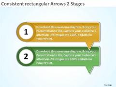 Consistent Rectangular Arrows 2 Stages Flowchart Creator PowerPoint Templates