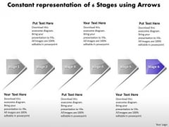 Constant Representation Of 6 Stages Using Arrows Manufacturing Process Diagram PowerPoint Templates