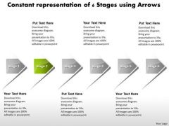 Constant Representation Of 6 Stages Using Arrows Support Process Flow Chart PowerPoint Slides