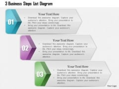 Consulting Slides 3 Business Steps List Diagram Business Presentation