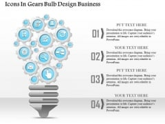 Consulting Slides Icons In Gears Bulb Design Business Presentation