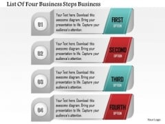 Consulting Slides List Of Four Business Steps Business Presentation