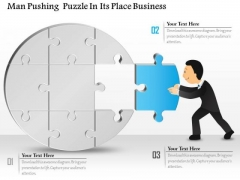 Consulting Slides Man Pushing Puzzle In Its Place Business Presentation