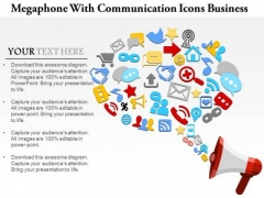 Consulting Slides Megaphone With Communication Icons Business Presentation