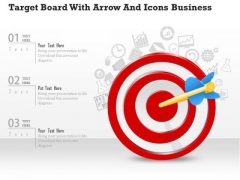 Consulting Slides Target Board With Arrow And Icons Business Presentation