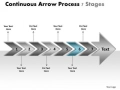 Continuous Arrow Process 7 Stages Manufacturing Flow Chart Symbols PowerPoint Slides