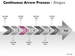 Continuous Arrow Process 7 Stages Schematic Drawing PowerPoint Templates