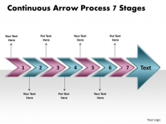 Continuous Arrow Process 7 Stages System Flow Charts PowerPoint Templates