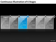 Continuous Illustration Of 6 Stages Business Engineering Process Flow Chart PowerPoint Templates