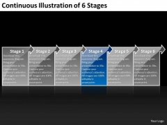 Continuous Illustration Of 6 Stages Create Flow Chart PowerPoint Slides