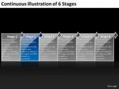 Continuous Illustration Of 6 Stages Engineering Process Flow Chart PowerPoint Templates